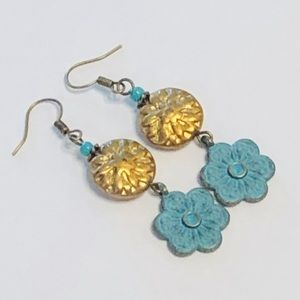 Textured Aztec Glass & Batik Flower Earrings